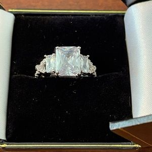 Emerald Cut Radiant Engagement Wedding CZ Ring